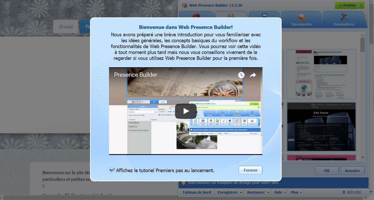 accéder à l'application Web Presence Builder