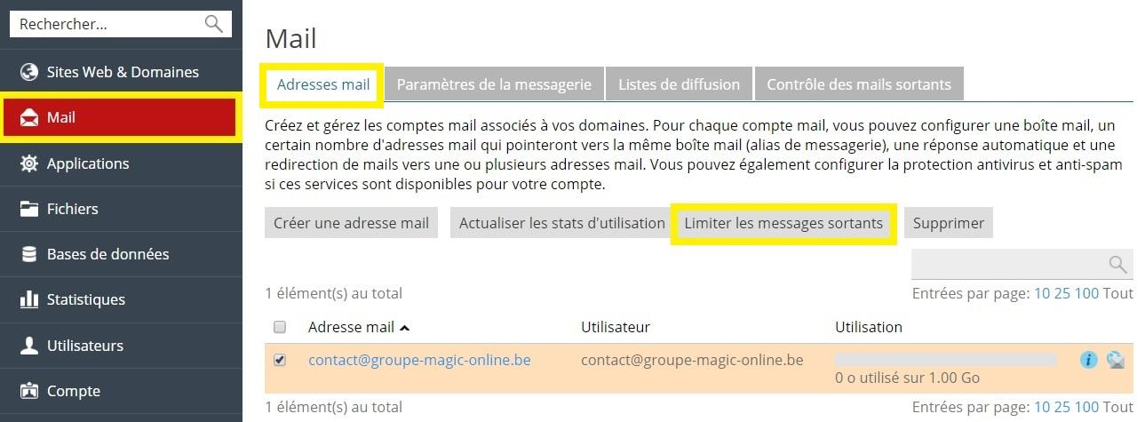 Limiter les messages sortants d'une adresse mail depuis plesk