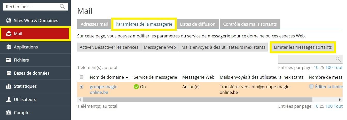 Limiter les messages sortants par domaine