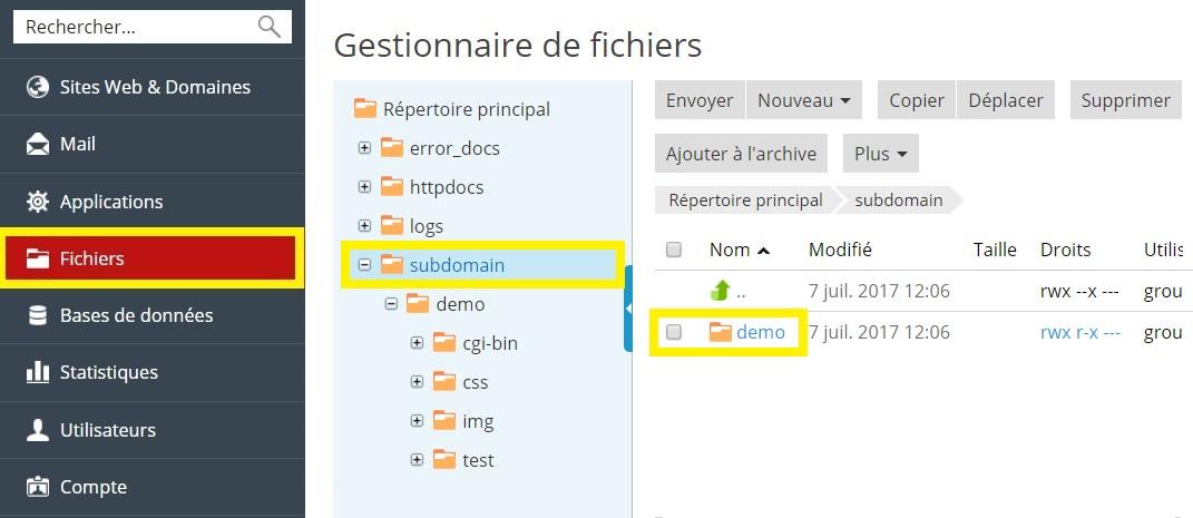 accès aux fichiers de sous-domaine