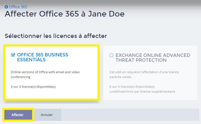 Affecter des licences à des utilisateurs Office 365 - 1