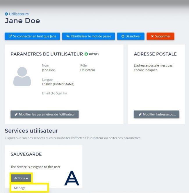 services utilisateur