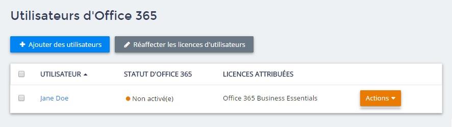 Utilisateurs d'office 365