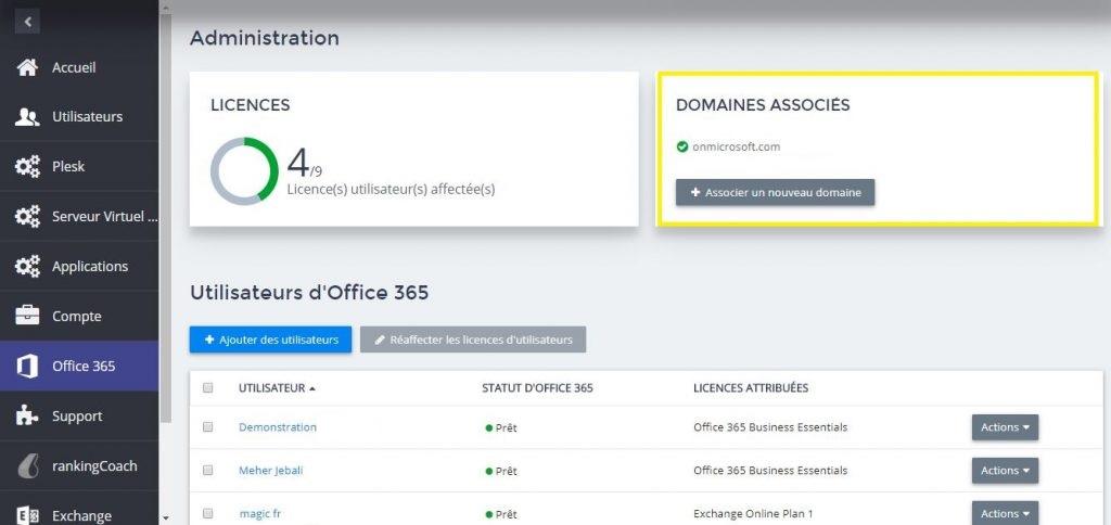 Gérer les domaines associés au service Office 365 - Administration
