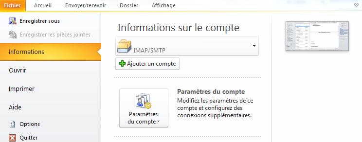Configuration Adresse Email Pro sur Outlook 2010 – Windows - ajouter un compte