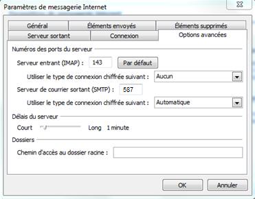 Paramètres de messagerie Internet