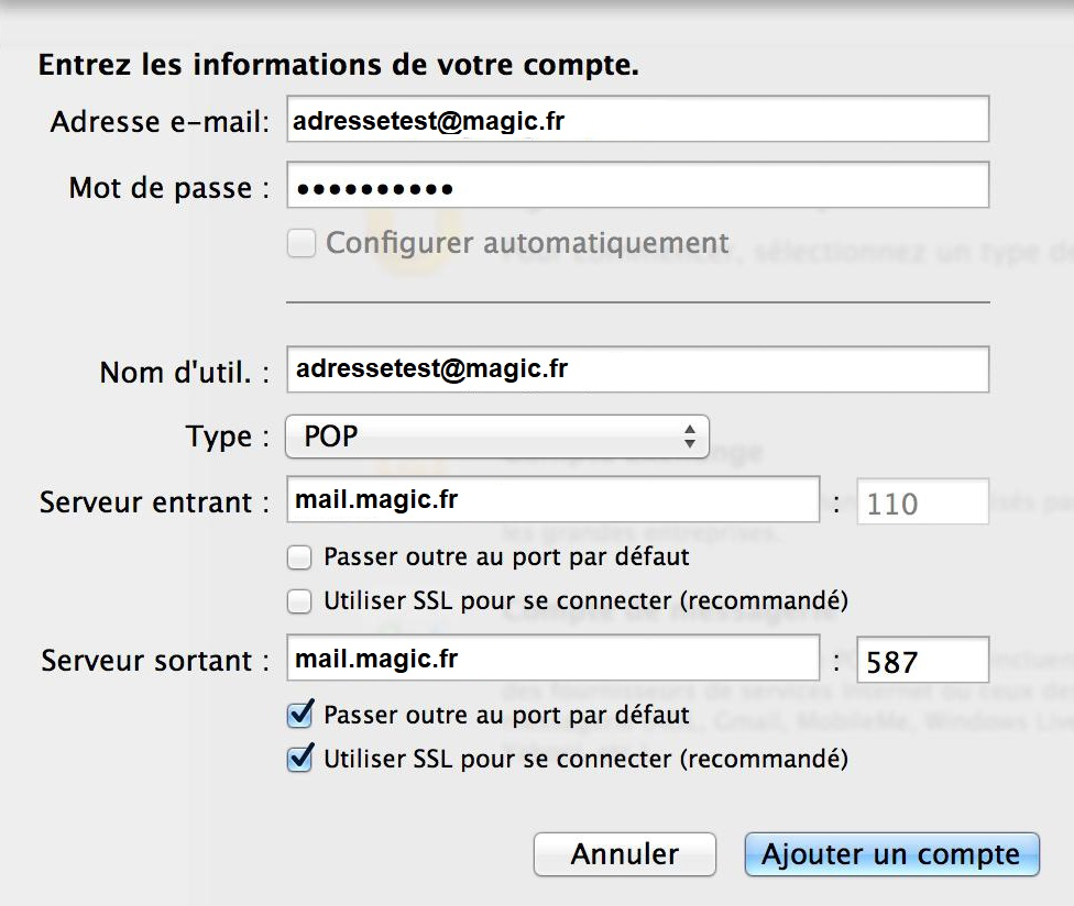 Configuration Adresse Email Pro sur Outlook – Mac OS - 2