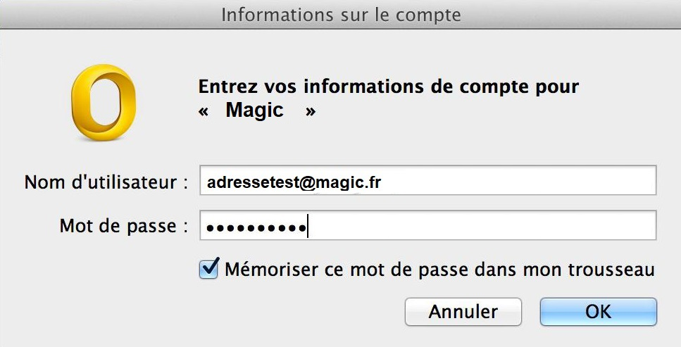 Configuration Adresse Email Pro sur Outlook – Mac OS - 4