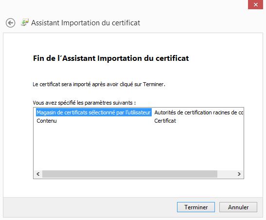 Configuration  d'un compte Microsoft Outlook - Assistant importation du certificat