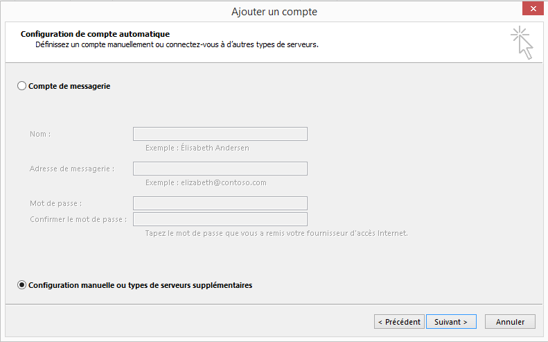Ajouter un compte - Configuration  d'un compte Microsoft Outlook
