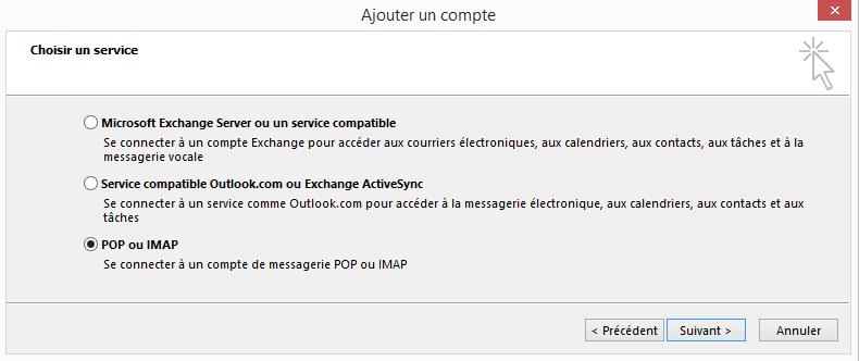 Configuration  d'un compte Microsoft Outlook - POP ou IMAP