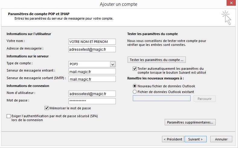 Configuration  d'un compte Microsoft Outlook - Ajouter un compte