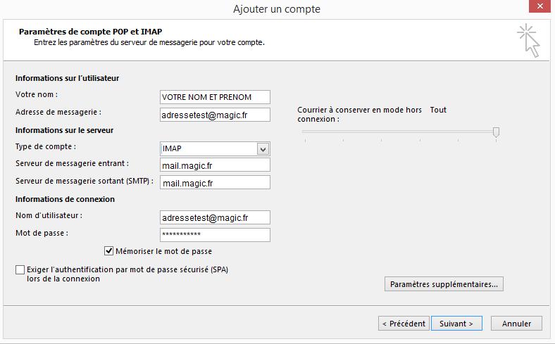 Configuration  d'un compte Microsoft Outlook - ajout