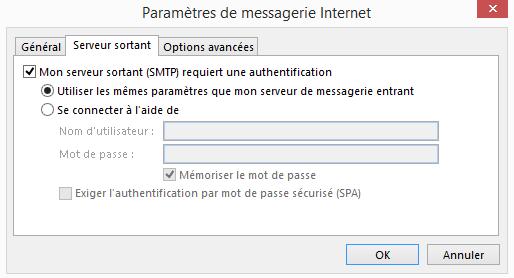 Configuration  d'un compte Microsoft Outlook