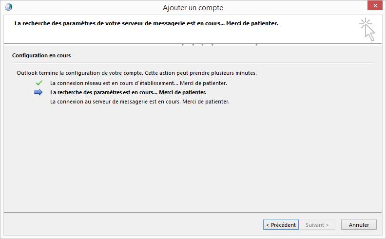 Ajouter un compte - Configuration Email Exchange 2013 sur Outlook 2013