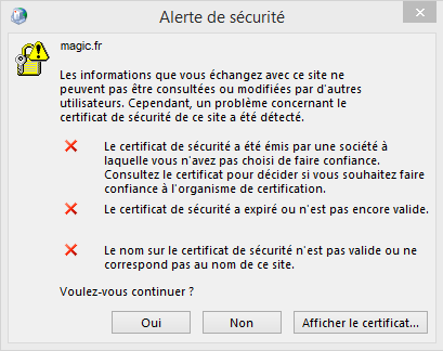 Alerte sécurité - Configuration Email Exchange 2013 sur Outlook 2013