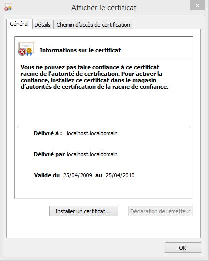 Afficher le certificat - Configuration Email Exchange 2013 sur Outlook 2013
