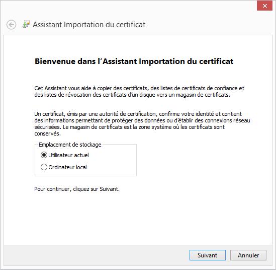 Configuration Email Exchange 2013 sur Outlook 2013 - Assistant Importation du certificat