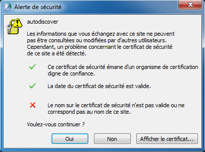 Configuration Email Exchange 2013 sur Outlook 2010 - Alerte sécurité
