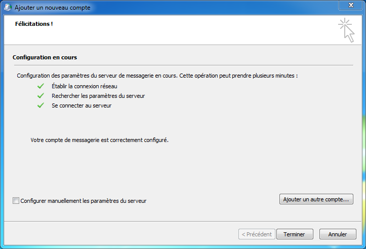 Configuration Email Exchange 2013 sur Outlook 2010- validation