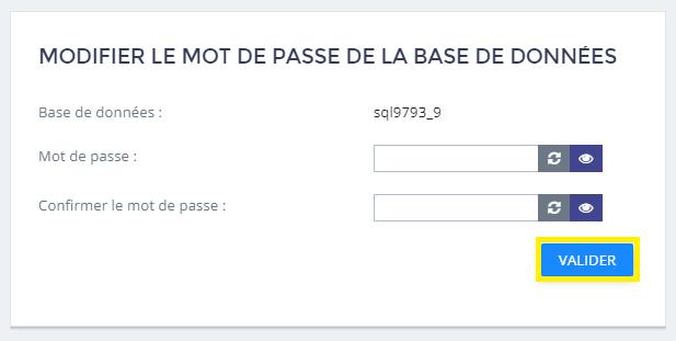 modification de mot de passe de la base de données