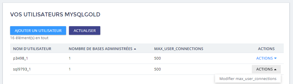 utilisateur MySQL
