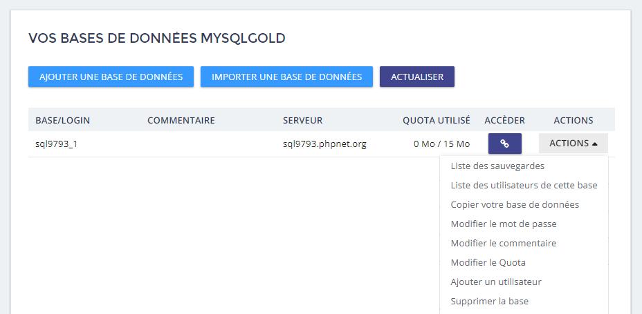 bases de données mysqlgold
